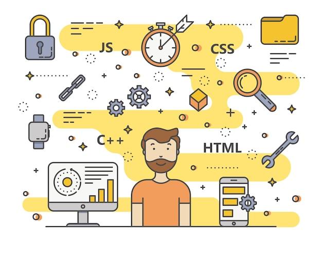 Тонкая линия плоский дизайн веб-разработка, концепция программирования баннер