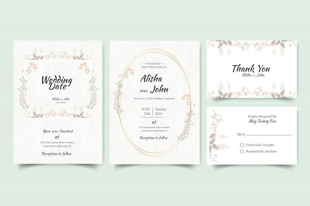 花のモダンな結婚式の招待状カードフレーム
