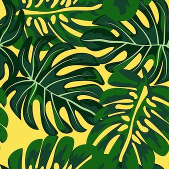 緑の熱帯の葉のシームレスパターン。