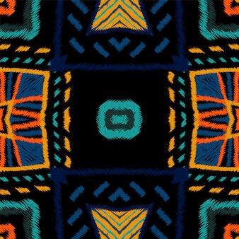 マルーンの描画部族。藍絞りベクターのシームレスパターン