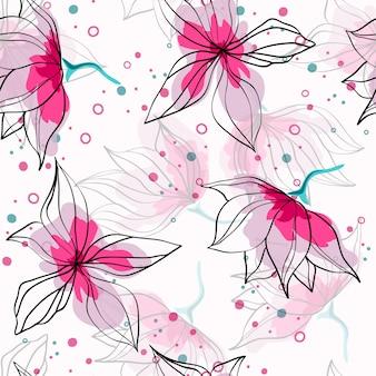ピンクのハイビスカスの花熱帯シームレスパターン。繊細な芽を持つエキゾチックなパターン。花と花のハワイアンスタイルの繊維の背景。