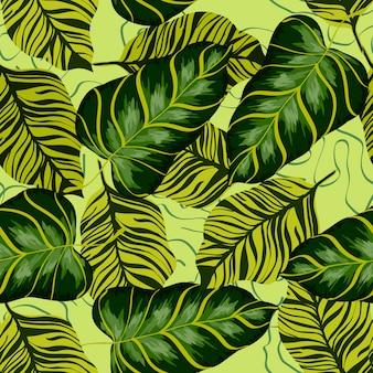 熱帯の葉の現実的なシームレスパターン。バナナの葉とヤシの木。熱帯植物とハワイのエキゾチックな背景。