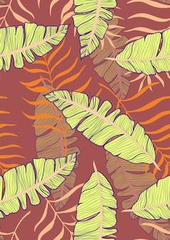 Банановый лист вектор бесшовный фон