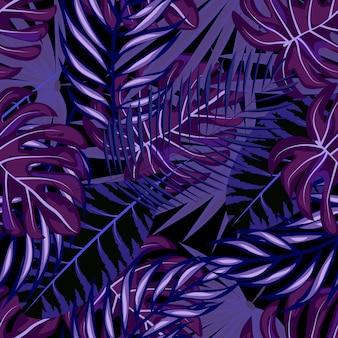 熱帯の葉のシームレスパターン。