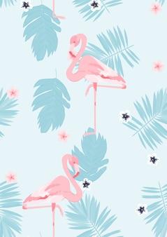 Розовый фламинго с тропическими листьями цветочные бесшовные модели.