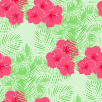 Тропические цветы и листья растений джунглей вектор бесшовные модели