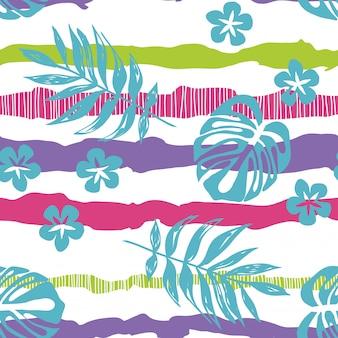 縞模様のシームレスパターンに描かれた熱帯の葉。