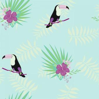 Тукан, тропические цветы и листья цветочные текстильные вектор бесшовные модели.