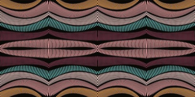 赤い絞りの幾何学的なシームレスパターン。黄色の菱形アフリカ水彩パターン。バティックボーホープリント。メキシコのストライプサイケデリックな水彩テクスチャ。