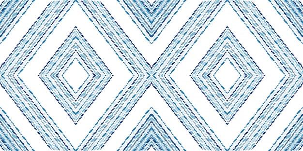 海洋バティックジオメトリのシームレスパターン。コーンフラワー三角形インドベクトルモチーフ。ひし形のファッションプリント。メキシコのシボリは、水彩のモチーフを繰り返します。