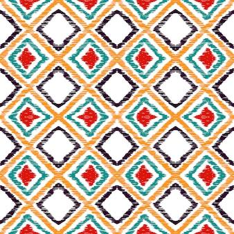 赤いひし形の伝統的なシームレスパターン。赤いバティックアステカ水彩モチーフ。バティック繰り返し印刷。メキシコの絞り染め部族水彩モチーフ。