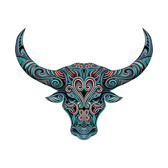雄牛の頭部ベクトル飾り