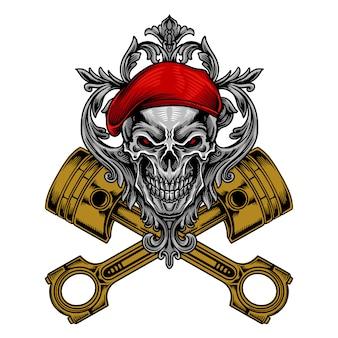 Механик череп солдат вектор