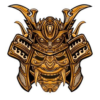 Самурайская золотая воинская маска вектор