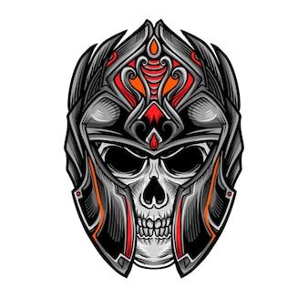 頭蓋骨の騎士の戦士の頭のベクトル