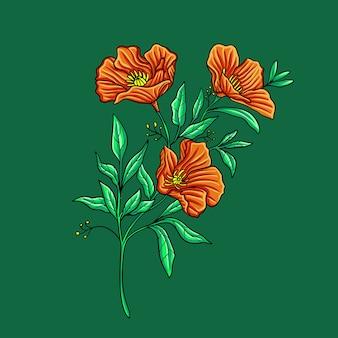 Осенний цветок на зеленом
