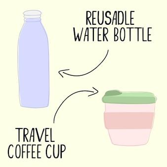再利用可能な水のボトルと旅行のコーヒーカップ。