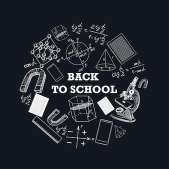 Баннер обратно в школу с изображением школьных принадлежностей.