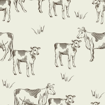 Бесшовный фон с коровами и телятами