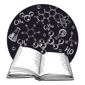 試験管と開いた本