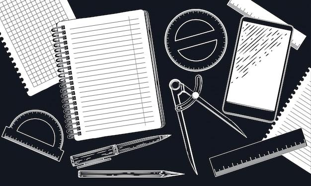 分度器と鉛筆。