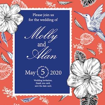 ハチドリと熱帯の花の結婚式の招待状