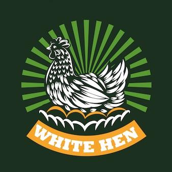 鶏が卵の上に座る
