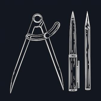 Векторное изображение компаса, пера и карандаша. набор учебных принадлежностей.