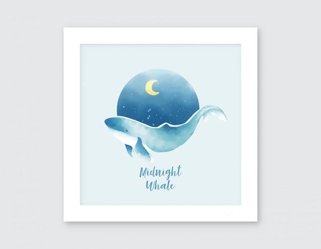 真夜中のクジラの水彩イラスト