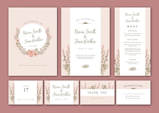 暖かいパステル調の花の結婚式の招待状パック