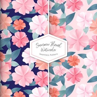 夏花水彩シームレスパターン