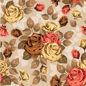 Акварель цветочные листья бесшовные фон
