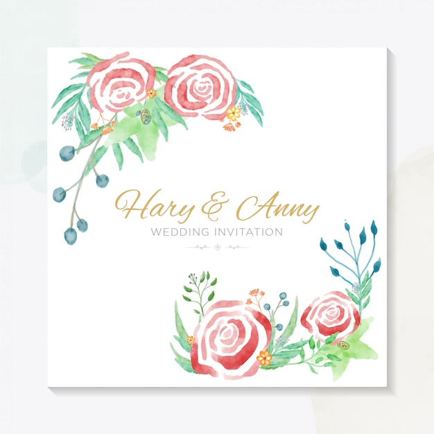 エレガントな水彩画の結婚式の招待状