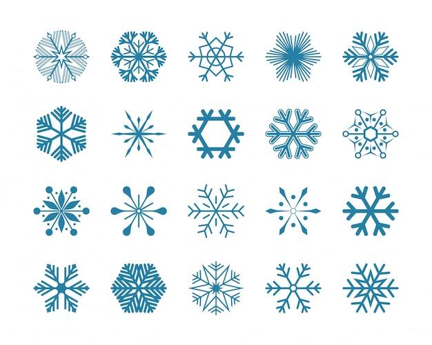 Установить синие снежинки векторные иллюстрации иконки, изолированные