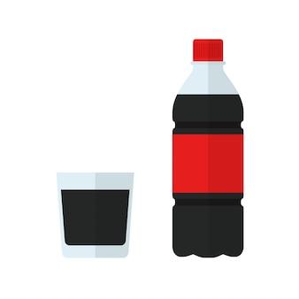 Бутылка содовой и стакан. напиток в плоском стиле, изолированный