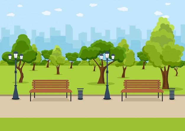 Городской парк деревянная скамейка