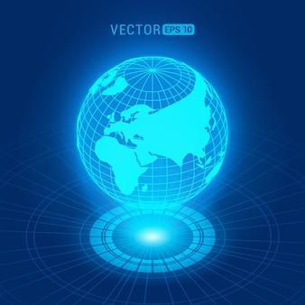 円と光源の濃い青の抽象的な背景に対して大陸とホログラフィックグローブ