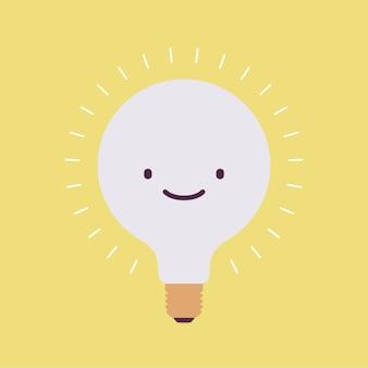 笑顔で明るく点滅する電球