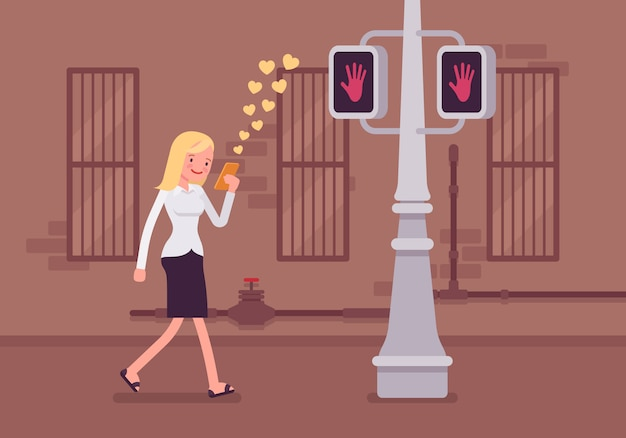 女性はスマートフォンで歩く