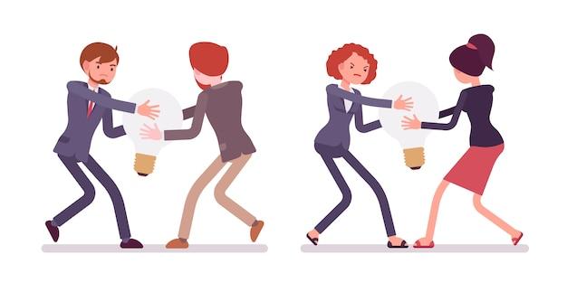 ランプ、アイデアのためのビジネスマンと女性の間の闘争