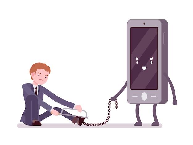 男は彼のスマートフォンに奴隷