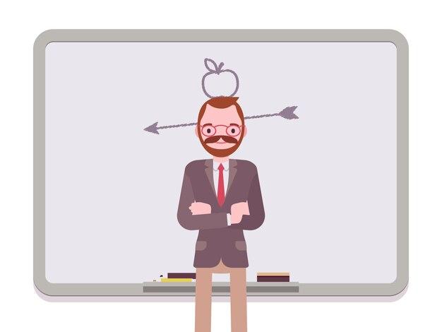 描かれたリンゴと矢を持つ男