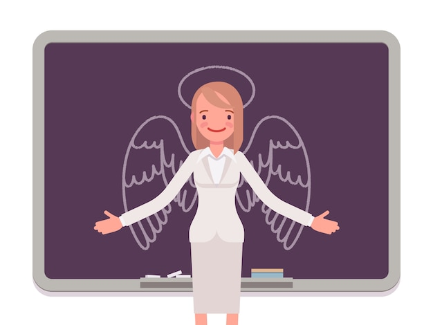 Женщина с нарисованным ангелом