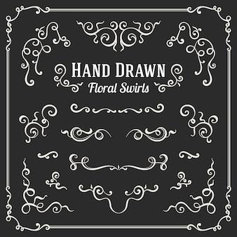 手描きの花の渦巻きと装飾品のセット