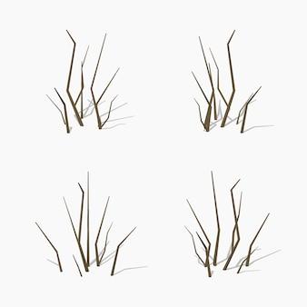 低ポリ乾燥枝