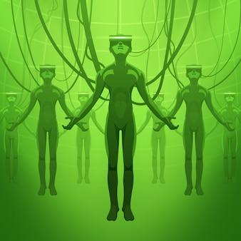 仮想現実ヘッドセットの男性