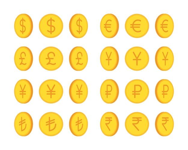 黄金のコイン、国際通貨のセット