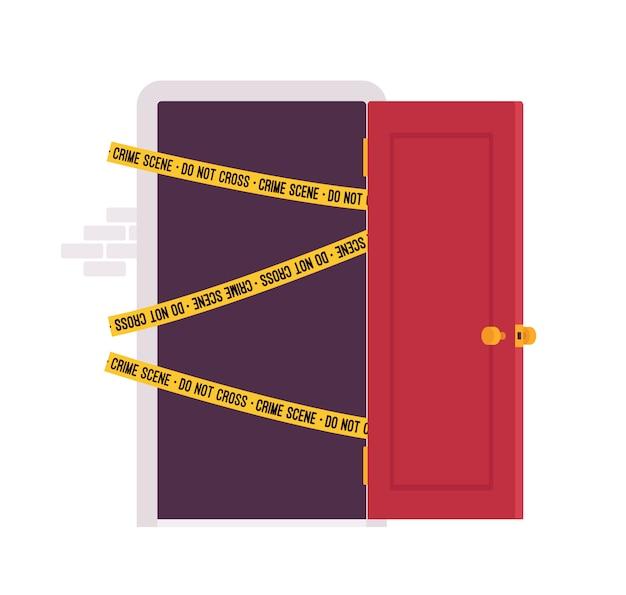 ドアと犯罪現場のテープ