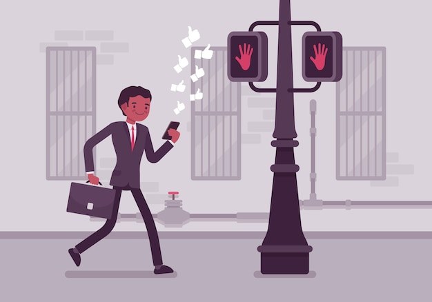 ポールに衝突するスマートフォンで歩く男