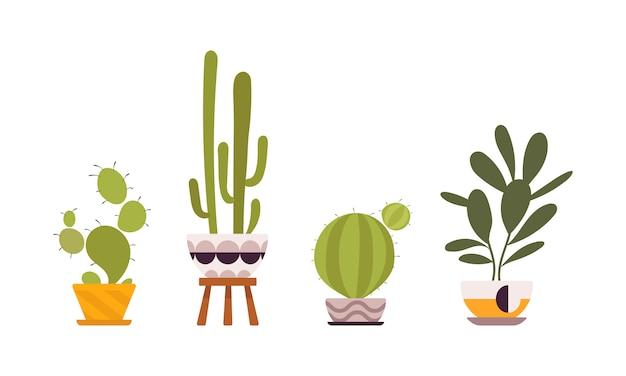 Набор из четырех зеленых растений в ретро горшках